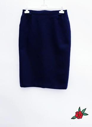 Шерстяная теплая юбка карандаш темно синяя юбка миди шерсть