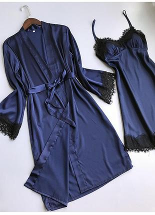 Пижама silktouch комплект халат с ночной рубашкой синий
