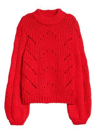 Красный вязаный теплый свитер с масивными рукавами s/m1