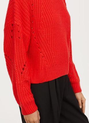 Красный вязаный теплый свитер с масивными рукавами s/m2