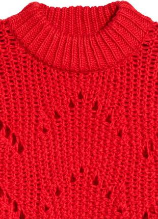Красный вязаный теплый свитер с масивными рукавами s/m3