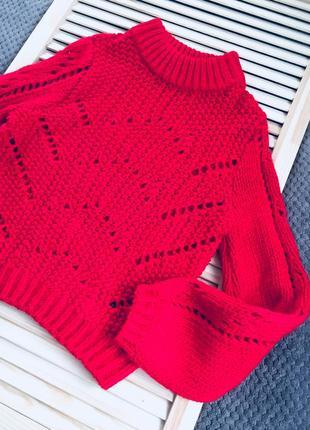 Красный вязаный теплый свитер с масивными рукавами s/m4