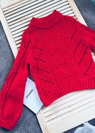 Красный вязаный теплый свитер с масивными рукавами s/m5