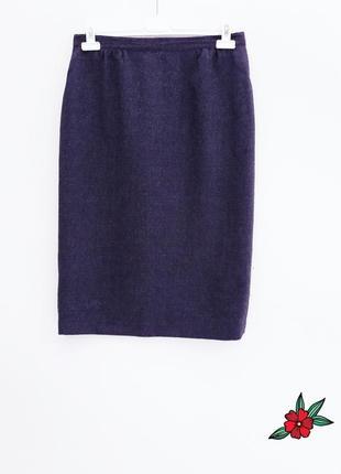 Теплая юбка миди юбка карандаш меланж серая юбка за колено