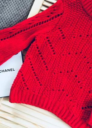 Красный вязаный теплый свитер с масивными рукавами s/m7