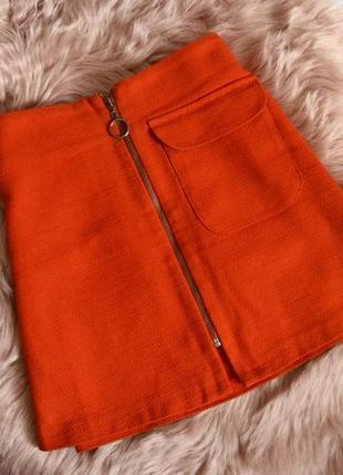 Оранжевая юбка трапеция top shop