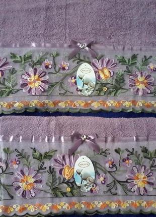 Махровые полотенца  лицо вышивка кружево 100 %  хлопок 1,0х0,5