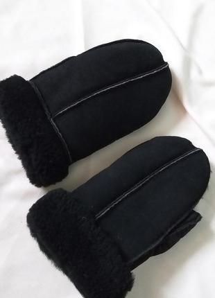 Зимние очень теплые варежки из кожи на 5-8 лет