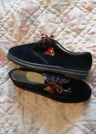 Туфли мокасины под замш на шнурках