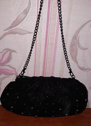 Шикарная черная тканевая сумка tom tailor