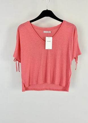 Розовая натуральная свободная футболка с завязками и разрезами на рукавах xs/s/m bershka