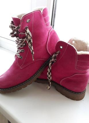 Замшевые зимние ботинки фуксия,  малиновые