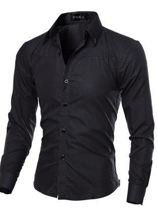 Рубашка в британксом стиле длинный рукав  черная код 1