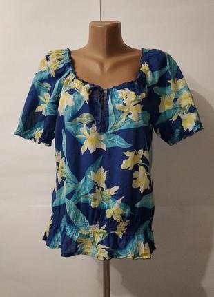 Хлопковая легкая летняя привлекательная блуза по низу на резинке hollister uk 10 / 38 / s