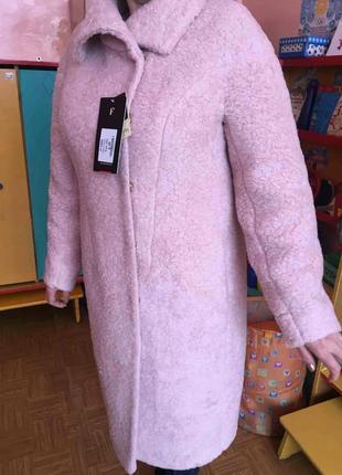 Новое зимнее женское пальто из натуральной итальянской шерсти, пудра