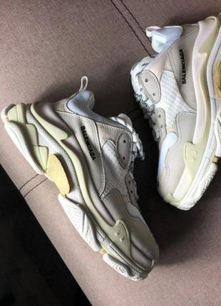 Хит продаж!! топовые женские кроссовки balenciaga triple s cream white в наличии3 фото