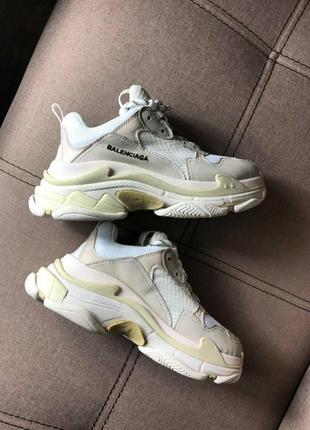 Хит продаж!! топовые женские кроссовки balenciaga triple s cream white в наличии