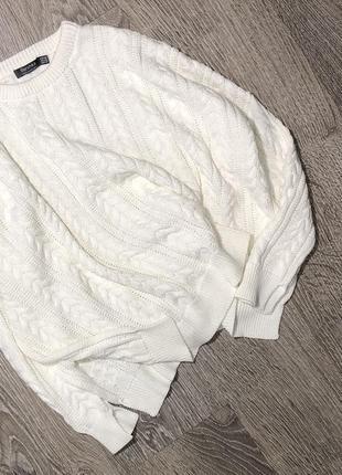 Классный коттоновый свитер с косами в стиле оверсайз,с разрезами по бокам