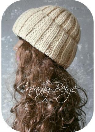 ❆ любая расцветка! хлопковая шапка с отворотом/цвета сливочный беж