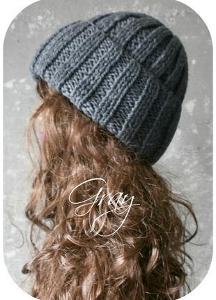 ❆ любая расцветка! хлопковая шапка с отворотом/серого цвета