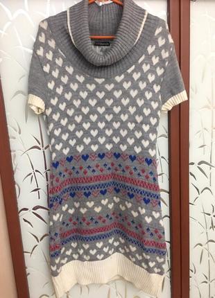 Туника теплая в сердечках джемпер свитер шерстяной