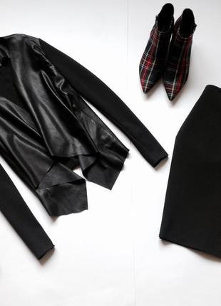 Черный кардиган пиджак кожзам. обнова! смотрите мои объявления!