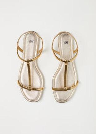 H&м золотистые босоножки h&m с зеркальным отливом 40 рр