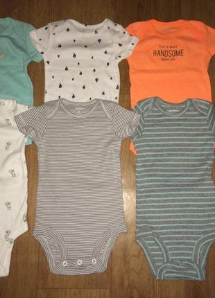 Комплект боди для новорожденных картерс 0-3 мес 6 шт carter's