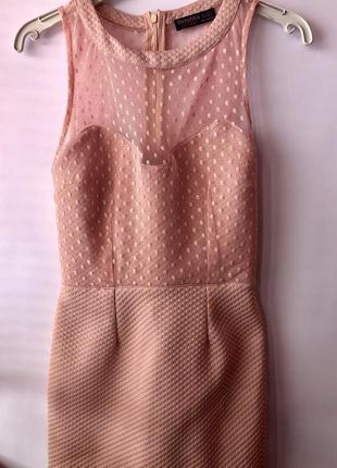 Бандажное платье с сеточкой в горох