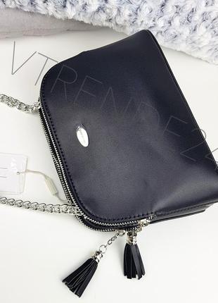 #5907-2 black david jones шикарная стильная сумочка кроссбоди