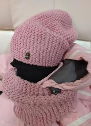 Комплект женская вязаная шапочка бини и снуд из 100% кашемира цвета пудра