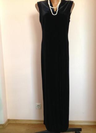 Длинное бархатное платье с разрезом спереди. /xl/ brend evening