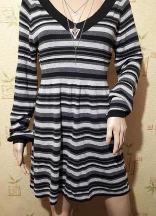 Платье женское миди в полоску машинная вязка