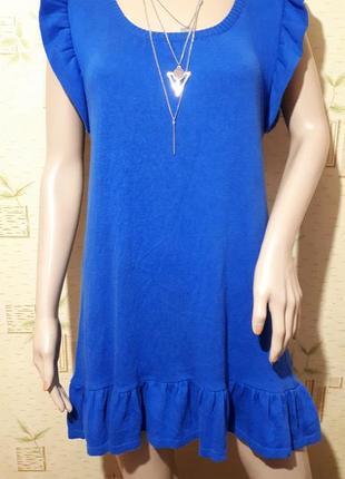 Платье шикарное цвета электрик миди с воланом машинная вязка туника