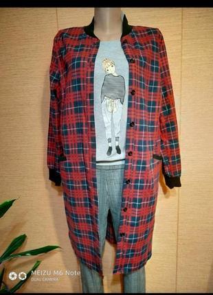 Размеры 44-52 платье рубашка туника клетка