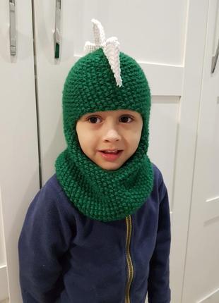 Зимний шлем балаклава динозавр - дракон