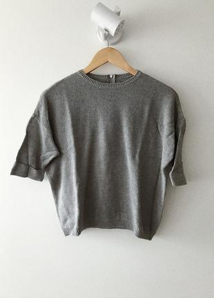 Серый свитер с короткими рукавами (oversize)