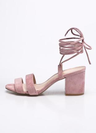 Cупер босоножки со шнуровкой/на завязках пудра - розовые натур замш