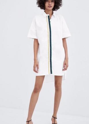 Платье рубашка прямое с полоской белое zara оригинал