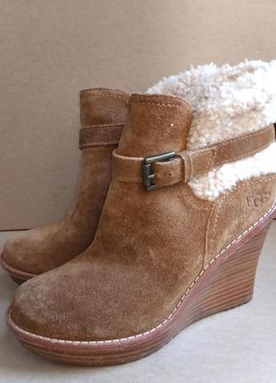 Замшевые женские полусапожки ботинки деми на танкетке бренд ugg оригинал
