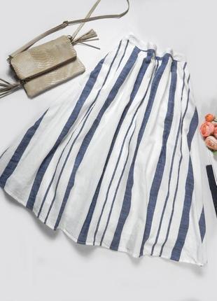 Стильная летняя юбка солнце миди 100% коттон в полоску