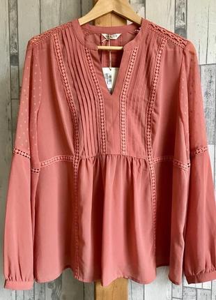 Шикарная блуза с шифоновыми вставками в горошек на рукавах, стиль бохо, marks&spencer