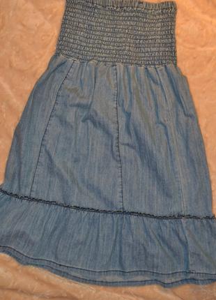 Легкое джинсовое платье-юбка