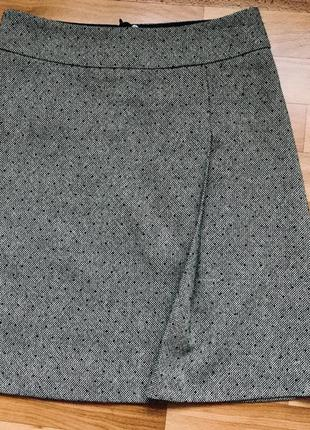Шерстяная юбка трапеция со складкой