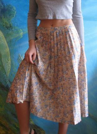 Плессированая юбка миди плиссе цветочный принт винтаж ретро