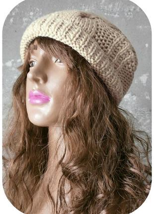 Любая расцветка! хлопковая фактурная шапка beanie с отворотом/косы/цвета сливочный беж3