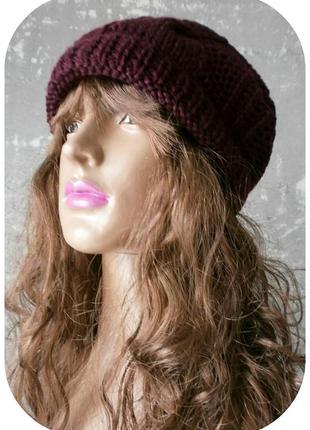 Любая расцветка! хлопковая фактурная шапка beanie с отворотом/косы/бургундского цвета3
