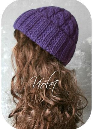 Любая расцветка! хлопковая шапка с отворотом/косы/фиолетового цвета