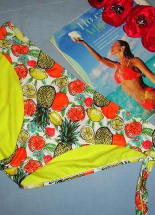 Низ от купальника раздельного трусики женские плавки размер 50 / 16 в ананасах желтые