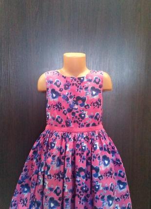 Платье в цветах, летнее, хлопок, пышное, фатин, 7-8